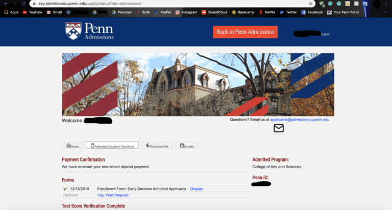 example penn admissions payment conformation example