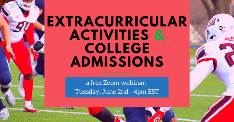 Extraccurricular Activities & College Admissions Zoom Webinar Banner