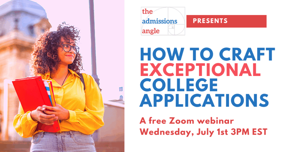 How to craft exceptional college applications zoom webinar banner