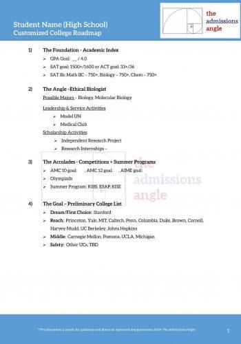 Customized College Roadmap sheet